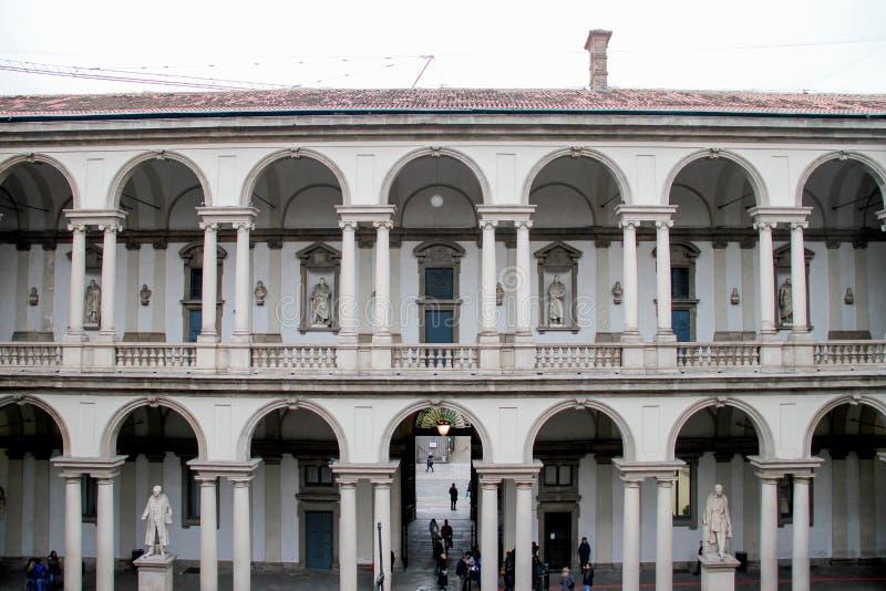 MILAN- Jan 10, 2019: Courtyard of Pinacoteca di Brera, with the Naked Napolean Statue Milan, Italy.  royalty free stock photography