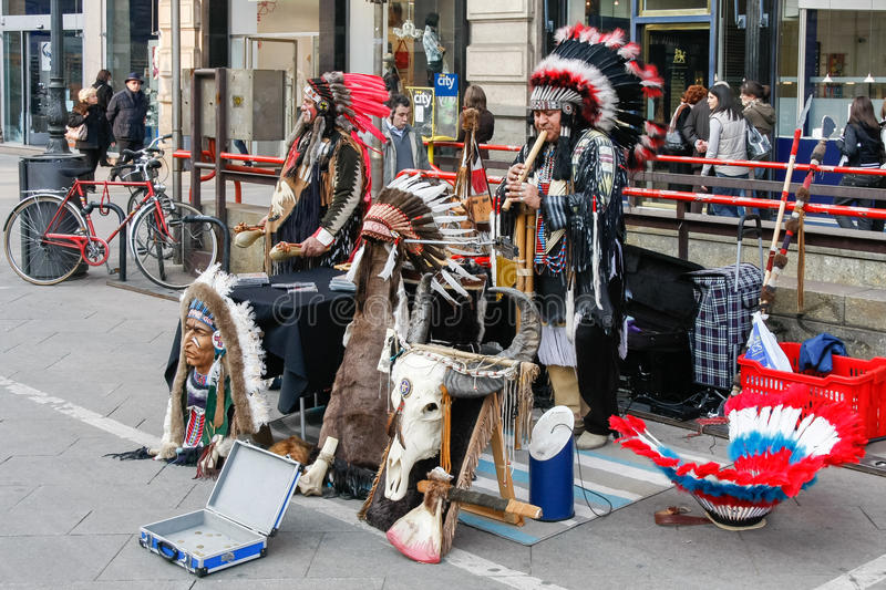 MILAN, LOMBARDY/ITALY - FEBRUARY 23 : Buskers dressed as america royalty free stock photography