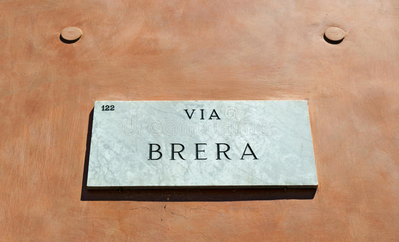 Milan, Lombardy, Italy, Northern Italy, Europe. Italy, 30/7/2017: the marble sign of Via Brera, the main street of Brera district, the historical and medieval stock photo