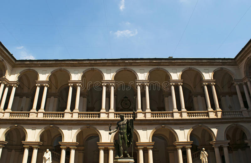 Milan, Lombardy, Italy, Northern Italy, Europe. Milan, Italy, 30/7/2017: the statue of Napoleon as Mars the Peacemaker by Antonio Canova in the main courtyard of royalty free stock image