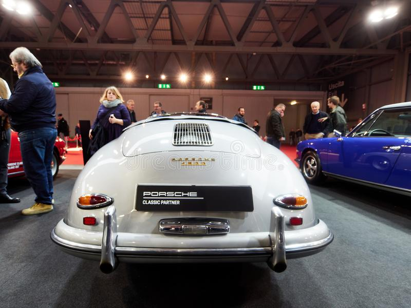 Milan, Lombardy Italy - November 23 , 2018 - Classic Porsche 356 Speedster from 1958 rear view in Autoclassica Milano 2018 edition stock photos