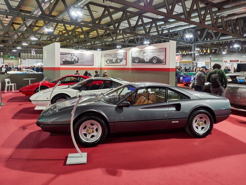 Milan, Lombardy Italy - November 23 , 2018 - From front Ferrari 308 GTS, Ferrari 308 GTB and Ferrari 308 GTB Vetroresina at Autocl royalty free stock images