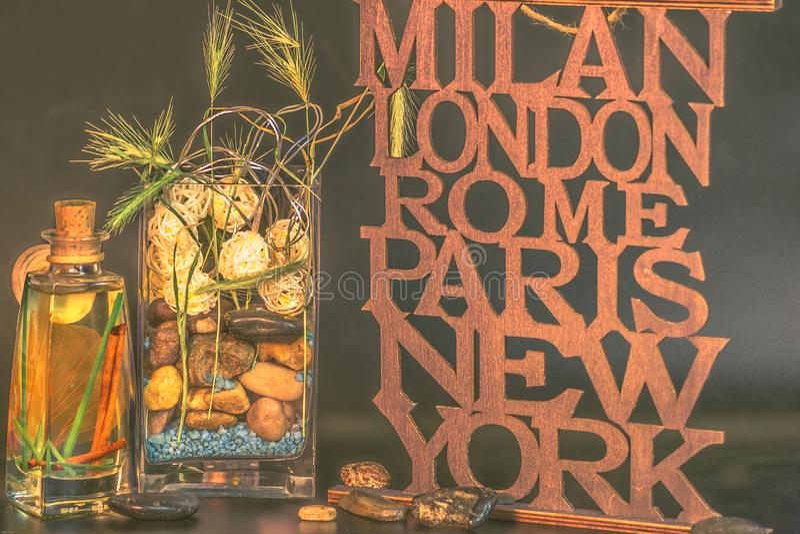 Milan-London-Rome-Paris-New York vase with stones royalty free stock images