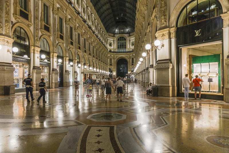 Milan Luxuous shopping mall stock photo