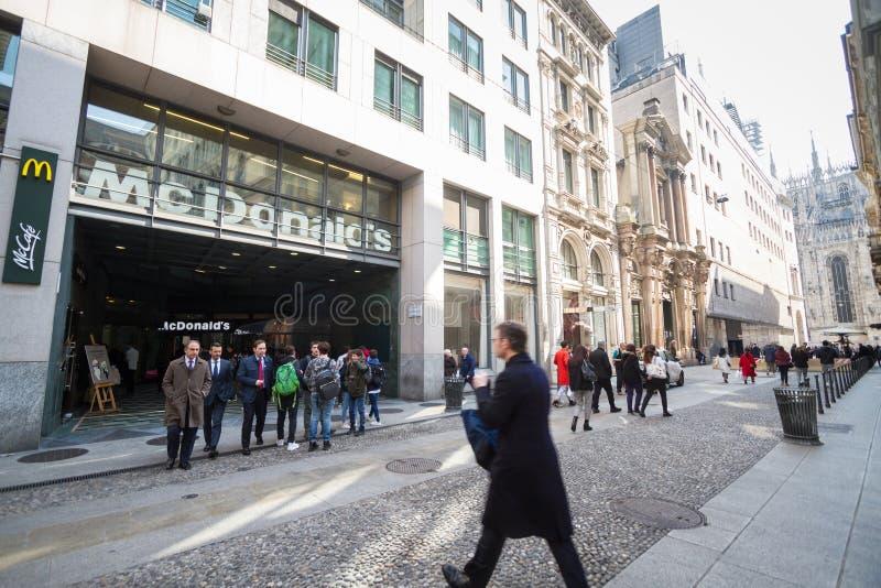 Milan: Window of McDonald`s fast food, Italy, Europe royalty free stock photo