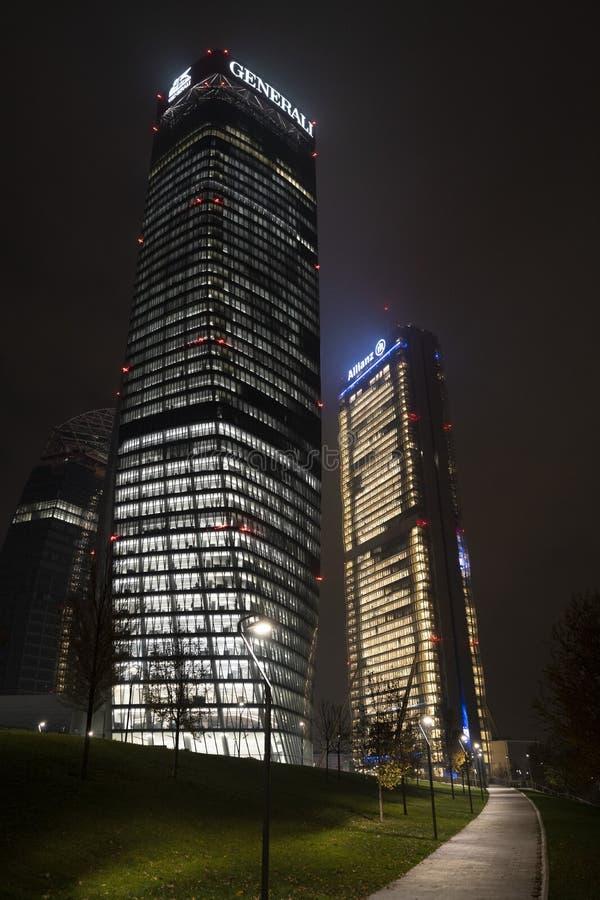 Milan: modern building near Citylife at evening stock image