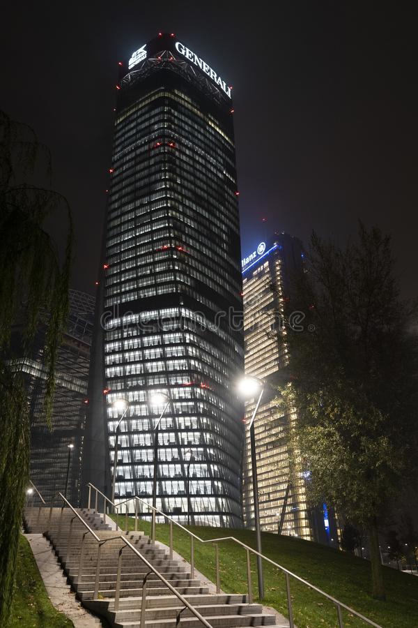 Milan: modern building near Citylife at evening stock images