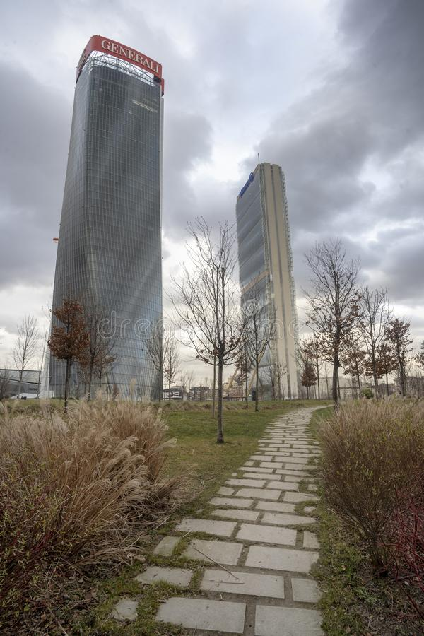 Milan, the modern towers at Citylife stock photos