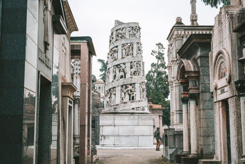 Milan Monumental Cemetery Cimitero Monumentale, Italië royalty-vrije stock fotografie