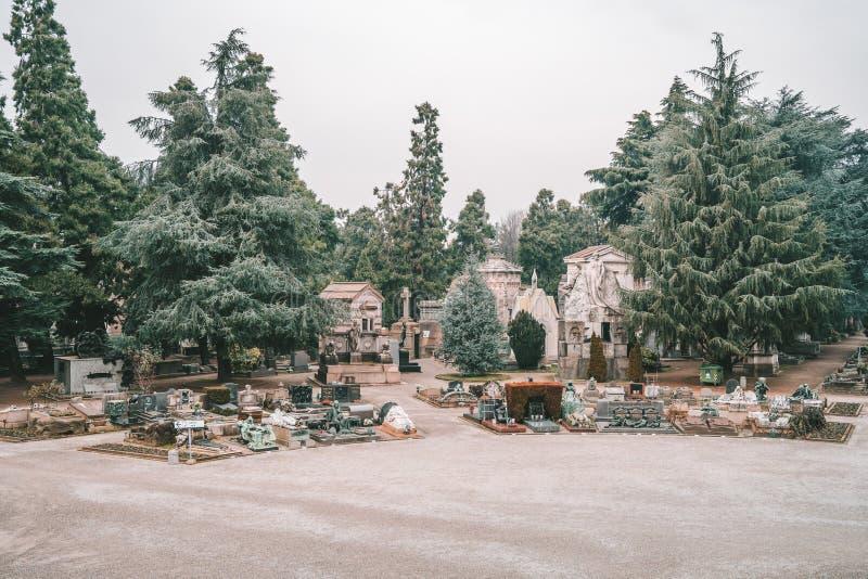 Milan Monumental Cemetery Cimitero Monumentale, Italia fotografia stock
