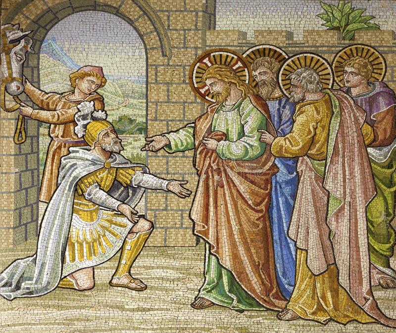 Milan - mosaïque - soldat romain d'appel pour Jésus photo libre de droits