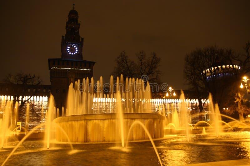 Milan Night Fountain stock photos