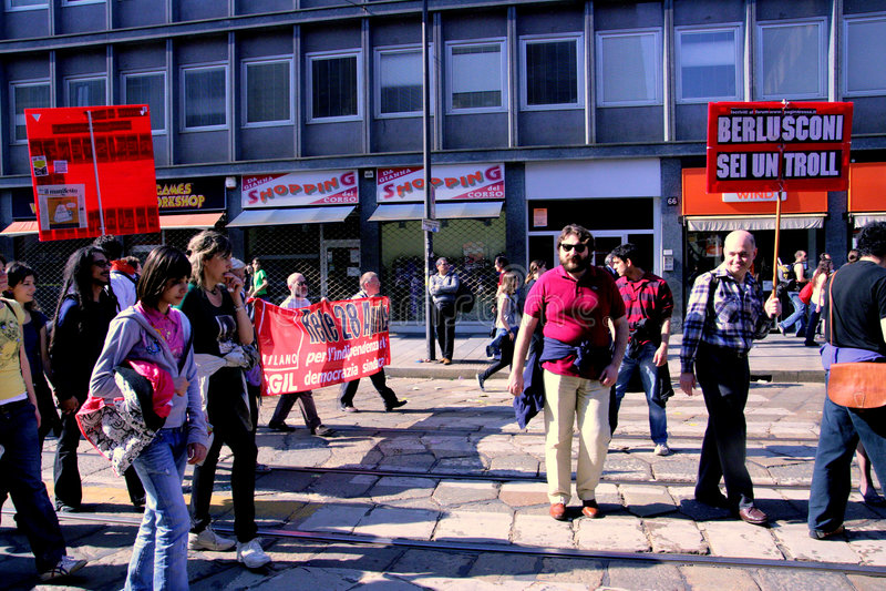 Milan, People protesting politics corruption stock photo