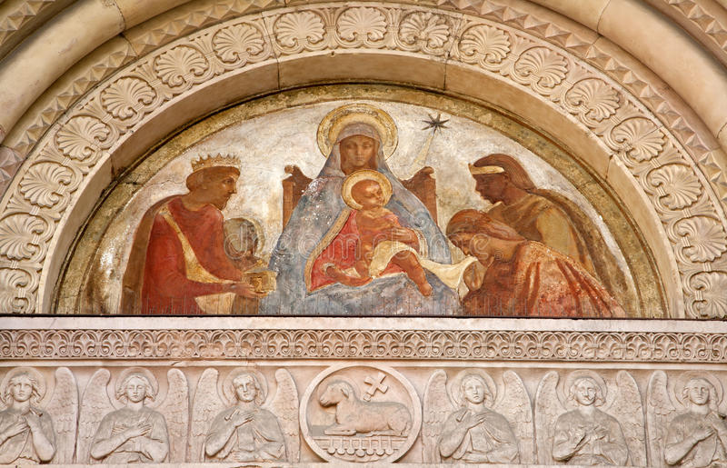 Milan - portal of San Lorenzo church - Virgin Mary. Milan - fresco of virgin Mary from main portal of San Lorenzo church royalty free stock image