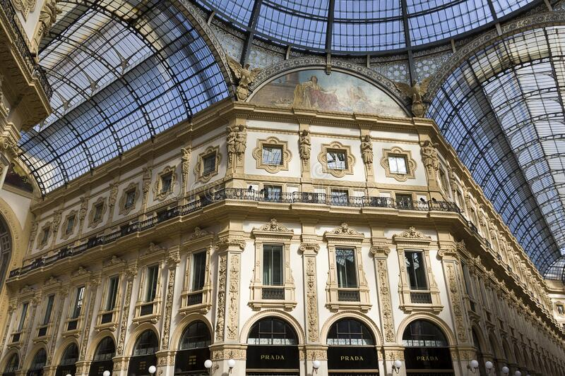 Milan - Prada store sign, Gallery of Vittorio Emanuele, glass arcades intersecting in the central octagon. Lombardy stock photos
