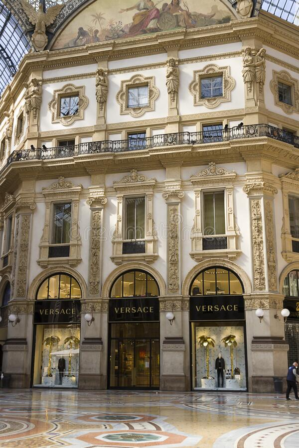 Milan - Prada store sign, Gallery of Vittorio Emanuele, glass arcades intersecting in the central octagon. Lombardy stock photo