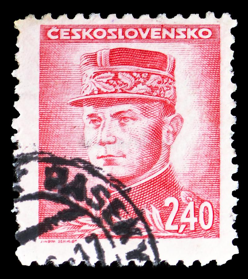 Milan Rastislav Stefanik, Portraits serie, circa 1945. MOSCOW, RUSSIA - MARCH 23, 2019: Postage stamp printed in Czechoslovakia shows Milan Rastislav Stefanik stock image