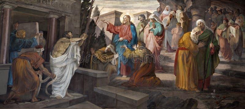 Milan - resurrection of Lazarus royalty free stock photo