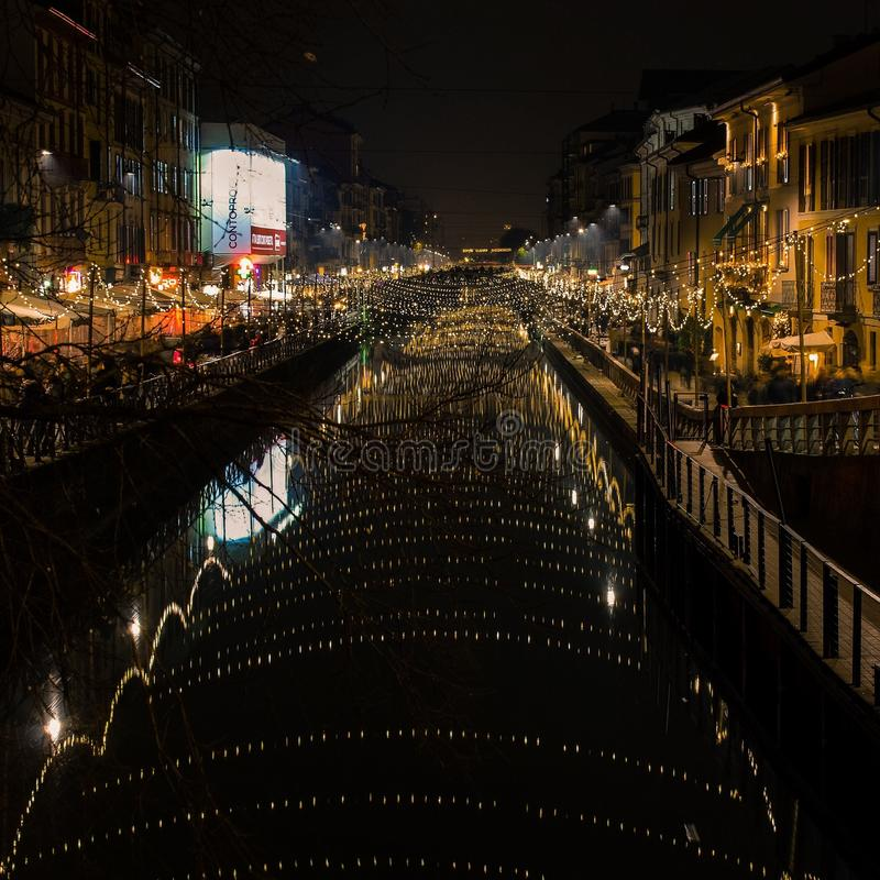 Milan& x27 s Navigli στοκ εικόνα