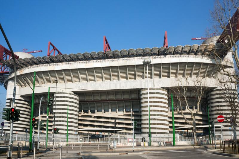 The facade of the old stadium Giuseppe Meazza San Siro - the sights of Milan, built in the architectural style of brutalism in royalty free stock images