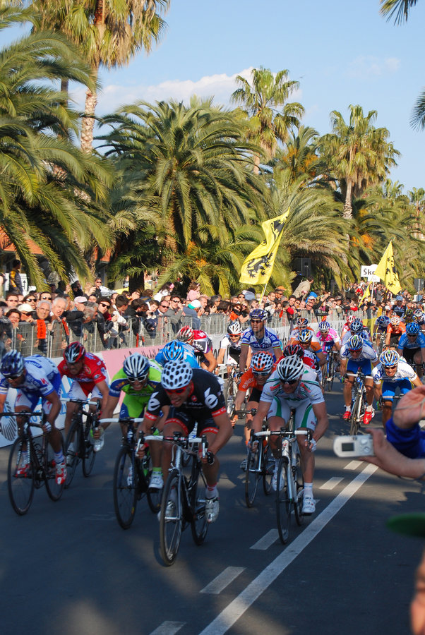 Milan-Sanremo Cycle Race 2009. Final sprint for the group after Cavendish and Haussler near the line of arrival in the famous and international cycle race Milano stock photos