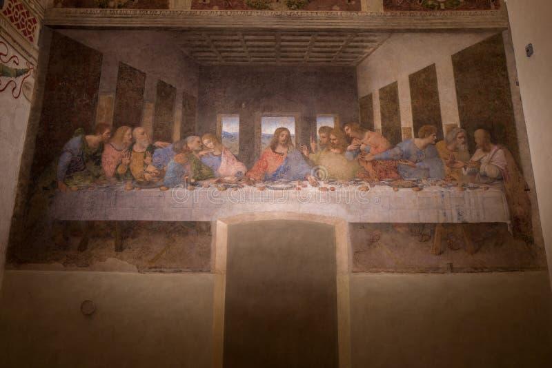 Milan - September 26: The famous last supper by Leonardo Da Vinci on September 26, 2017 in Milan stock photo