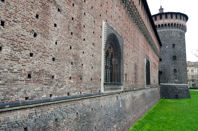 Milan, Sforza Castle, a medieval fortress in Milan, Italy. royalty free stock photo