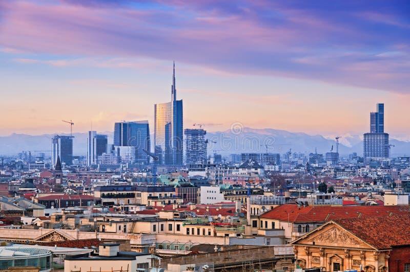 "Milan Skyline. View of Milan`s business district from ""Duomo di Milano"