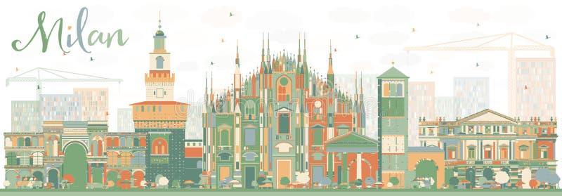 Milan Skyline abstrato com marcos da cor ilustração royalty free