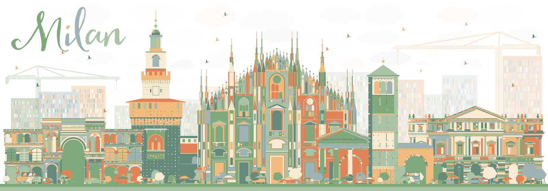 Milan Skyline astratto con i punti di riferimento di colore royalty illustrazione gratis