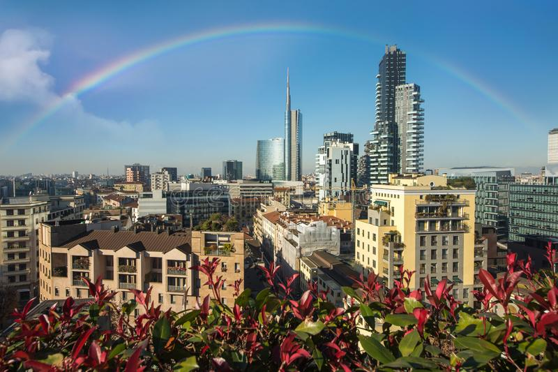 Milan skyline with modern skyscrapers with flowers, Italy royalty free stock photos