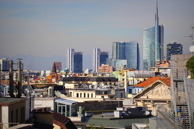 Milan skyline with modern skyscrapers in Porto Nuovo business district, Italy. Panorama of Milano city for background stock image