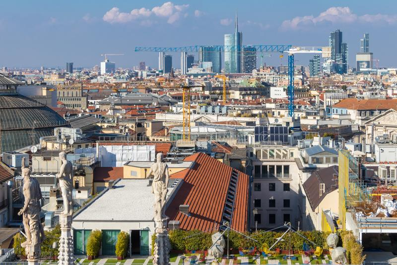 Milan skyline with urban skyscrapers, Italy royalty free stock image