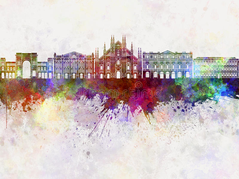 Milan skyline in watercolor vector illustration