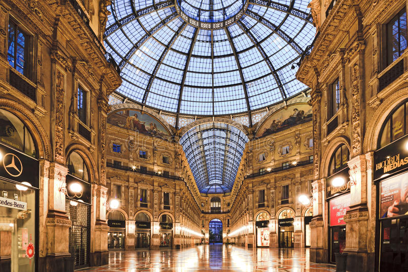 Milan Vittorio Gallery Inside royaltyfria foton