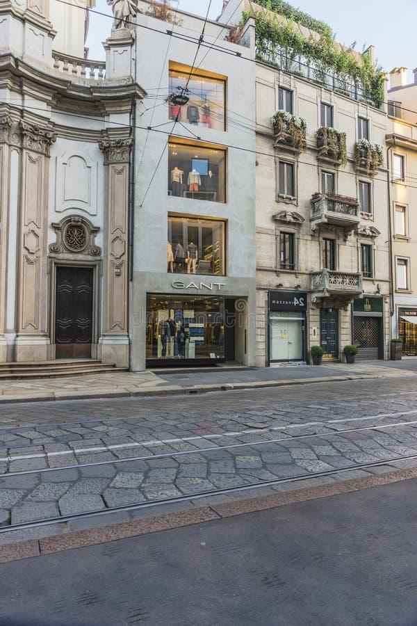 Milano city centre street view royalty free stock image