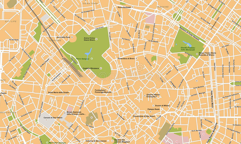 Milano city vector map. This is vector map at Milano city in Italia. Fully editable with Adobe Illustrator royalty free illustration