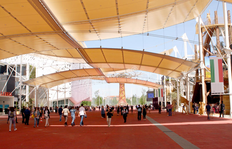 MILANO EXPO 2015. Universal exposition in Milano in 2015. Italia street Pavilions royalty free stock image