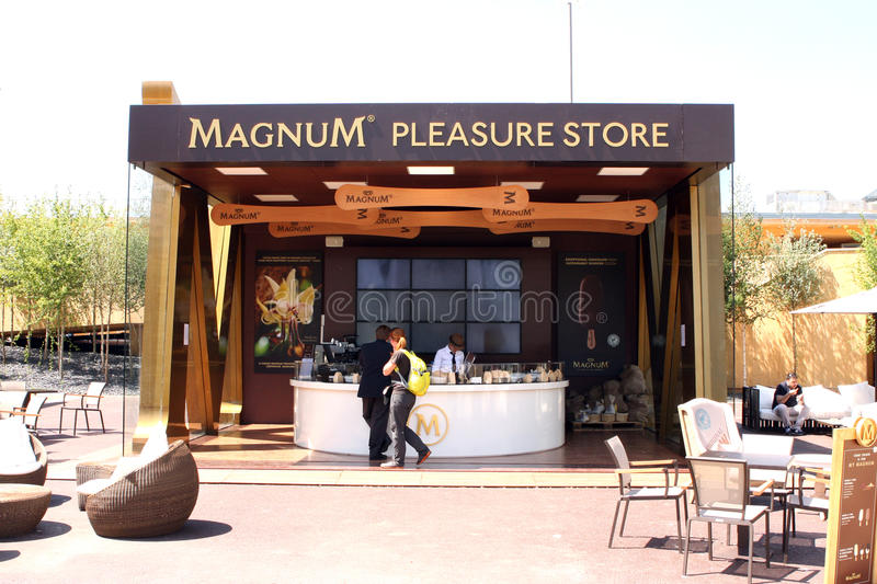 MILANO EXPO 2015. Universal exposition in Milano in 2015. Magnum Pleasure store royalty free stock photos