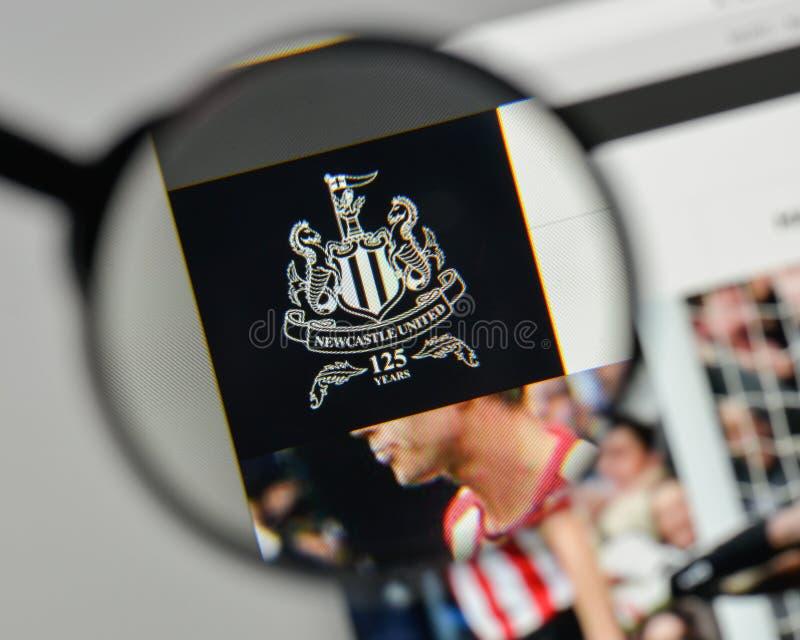 Milano, Italia - 1° novembre 2017: Logo di Newcastle United sul noi immagini stock libere da diritti