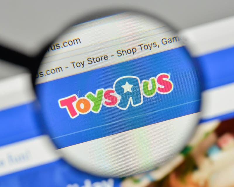 Milano, Italia - 1° novembre 2017: Logo di Toys R Us sul sito Web h immagini stock libere da diritti