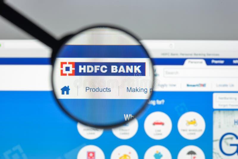 Milano, Italia - 10 agosto 2017: Homepa limitato del sito Web della banca di HDFC fotografia stock libera da diritti
