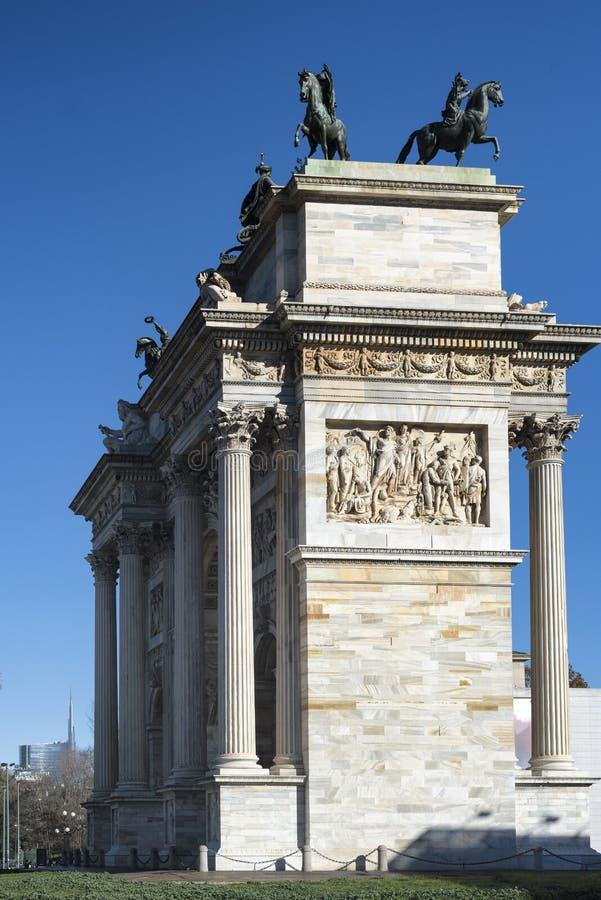 Milano (Italia): Passo di della di Arco fotografia stock libera da diritti