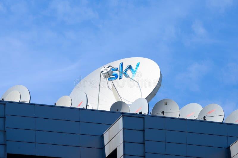 Milano,Italy, april 29 2014: SKY pay tv corporate headquarters M royalty free stock image