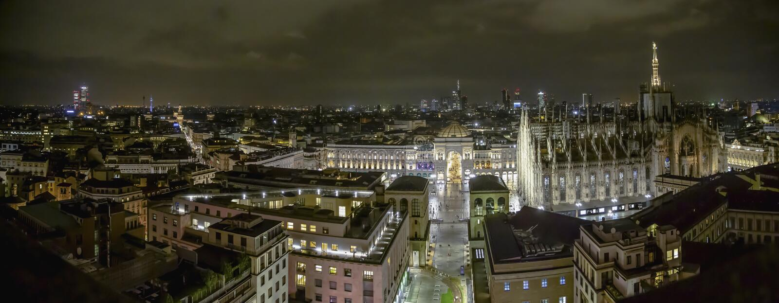 Milano, Italy - 08 31 2018: Duomo di Milano - galleria Vittorio Emanuele, aerial view - night. High resolution panorama stock images