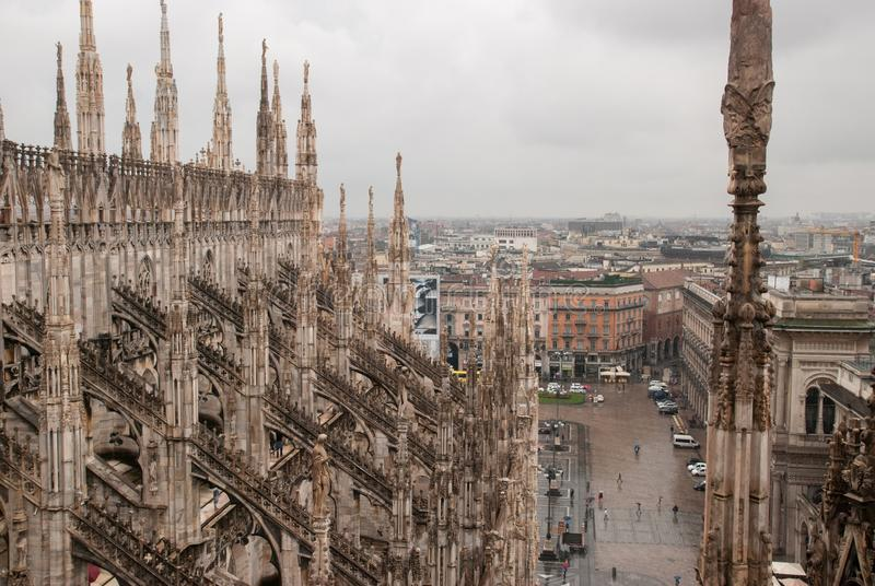 View from roof of Duomo di Milano - the cathedral church of Milan, Italy royalty free stock image