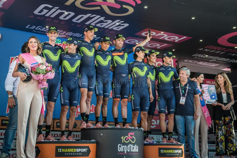 Milano, Italy May 28, 2017: Full team Movistar on the podium celebrates the end of the Tour of Italy 2017 royalty free stock photography