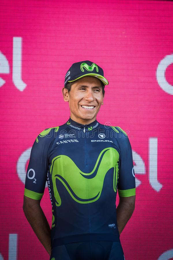 Milano, Italy May 28, 2017: Nairo Quintana, Movistar Team, celebrates his third place on the podium in Milan. Of the Tour of Italy 2017 after 21 days of race royalty free stock image