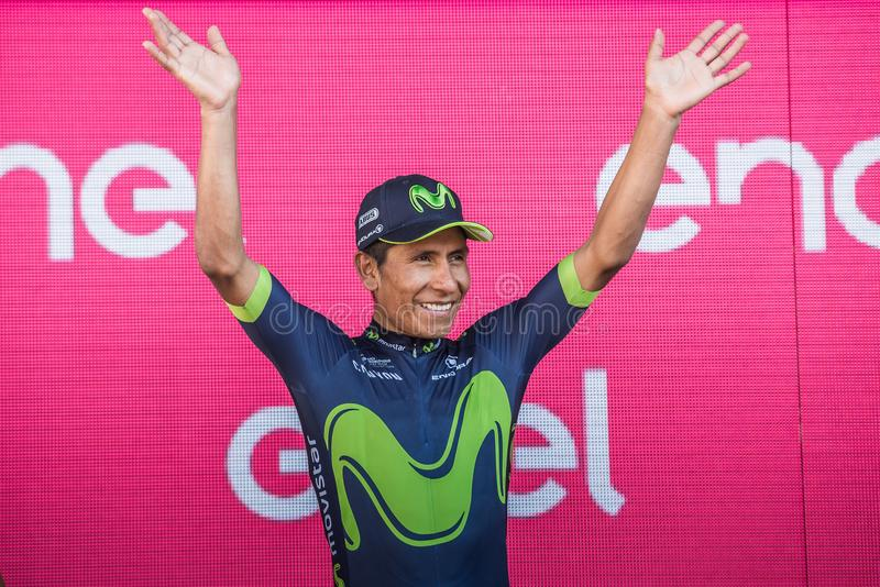 Milano, Italy May 28, 2017: Nairo Quintana, Movistar Team, celebrates his third place on the podium in Milan. Of the Tour of Italy 2017 after 21 days of race stock photography