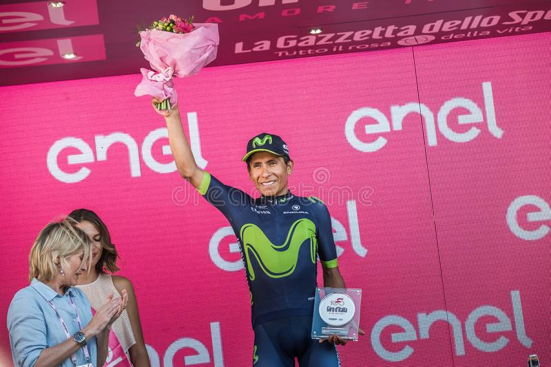 Milano, Italy May 28, 2017: Nairo Quintana, Movistar Team, celebrates his third place on the podium in Milan. Of the Tour of Italy 2017 after 21 days of race royalty free stock images